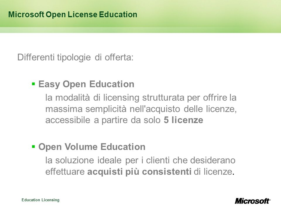 Microsoft Open License Education