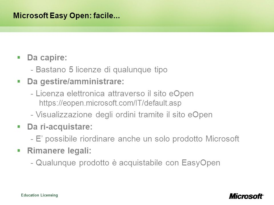 Microsoft Easy Open: facile...