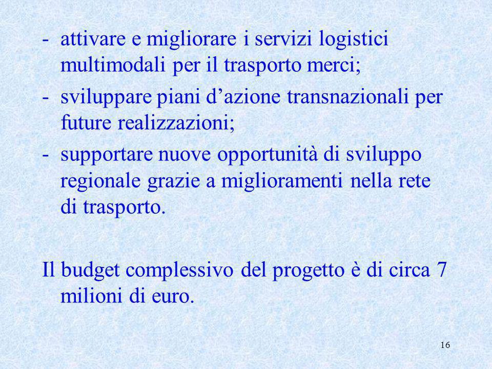 attivare e migliorare i servizi logistici multimodali per il trasporto merci;