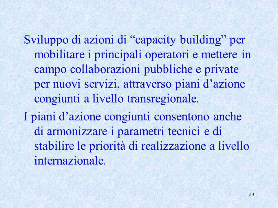 Sviluppo di azioni di capacity building per mobilitare i principali operatori e mettere in campo collaborazioni pubbliche e private per nuovi servizi, attraverso piani d'azione congiunti a livello transregionale.