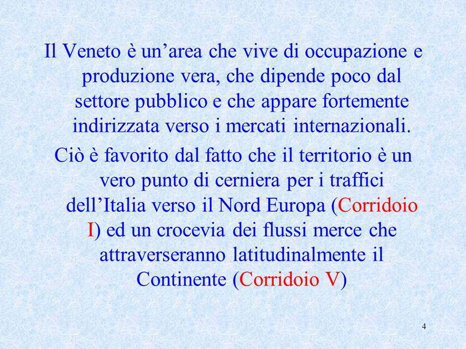 Il Veneto è un'area che vive di occupazione e produzione vera, che dipende poco dal settore pubblico e che appare fortemente indirizzata verso i mercati internazionali.