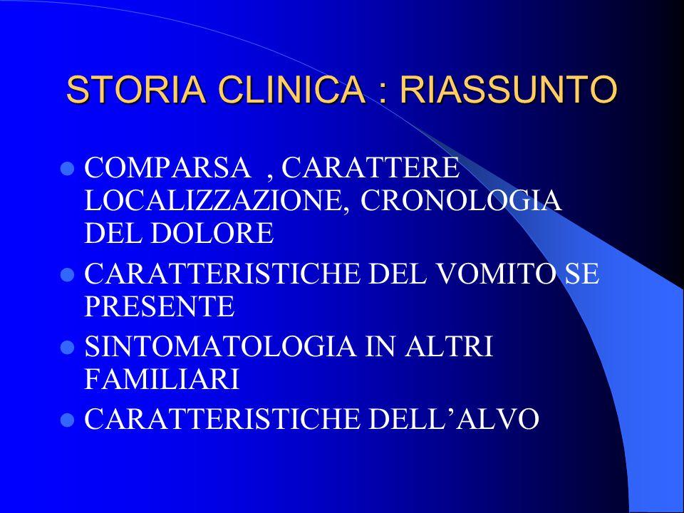 STORIA CLINICA : RIASSUNTO