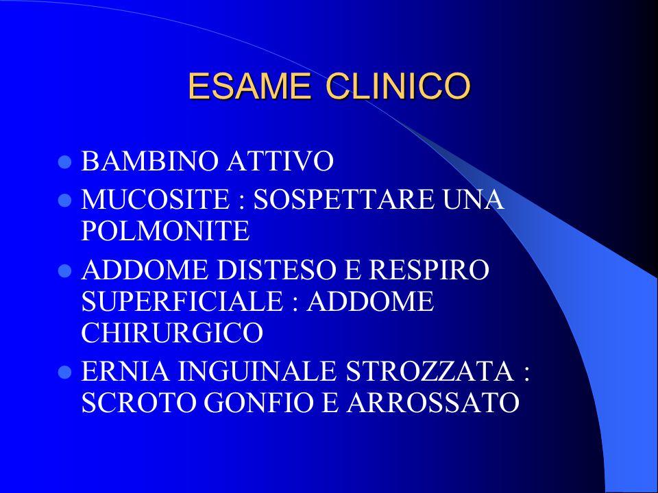 ESAME CLINICO BAMBINO ATTIVO MUCOSITE : SOSPETTARE UNA POLMONITE