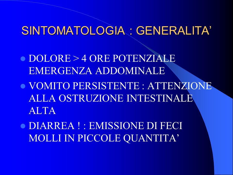 SINTOMATOLOGIA : GENERALITA'