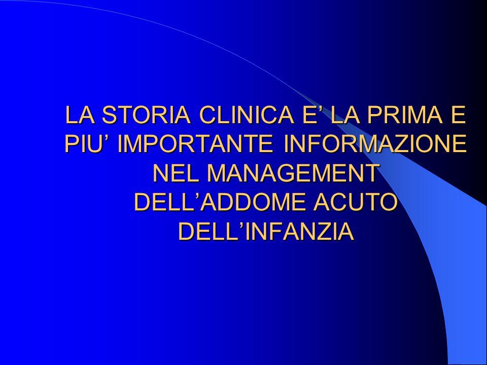 LA STORIA CLINICA E' LA PRIMA E PIU' IMPORTANTE INFORMAZIONE NEL MANAGEMENT DELL'ADDOME ACUTO DELL'INFANZIA