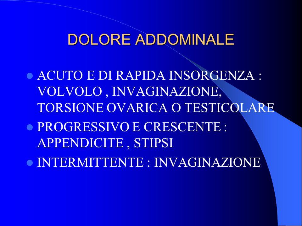 DOLORE ADDOMINALE ACUTO E DI RAPIDA INSORGENZA : VOLVOLO , INVAGINAZIONE, TORSIONE OVARICA O TESTICOLARE.
