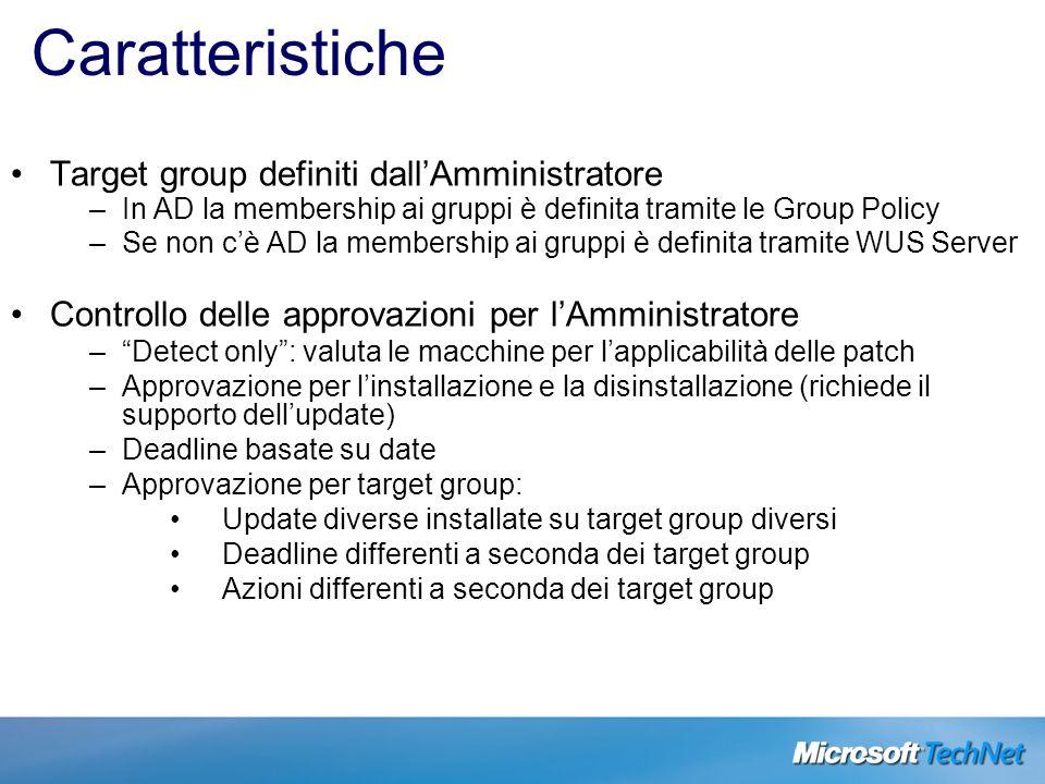 Caratteristiche Target group definiti dall'Amministratore