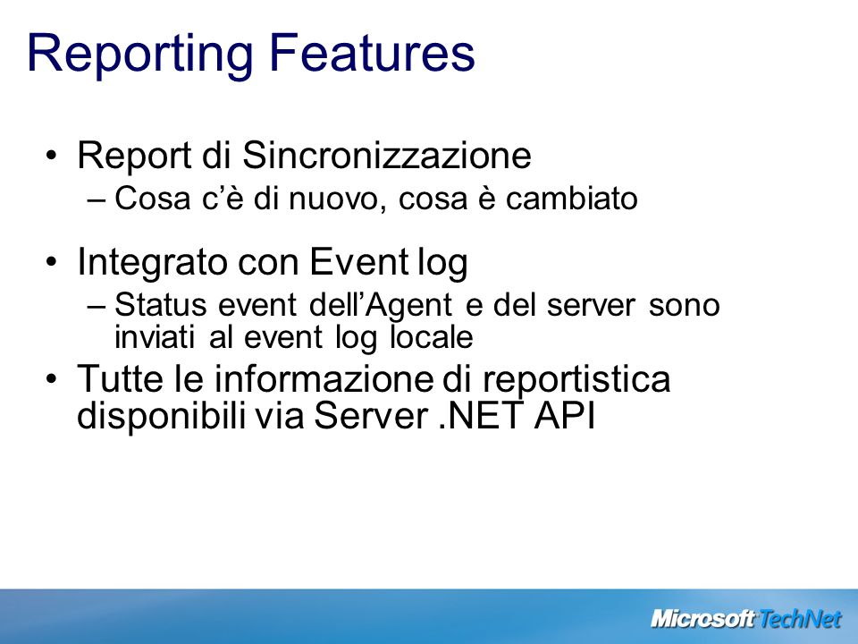 Reporting Features Report di Sincronizzazione Integrato con Event log