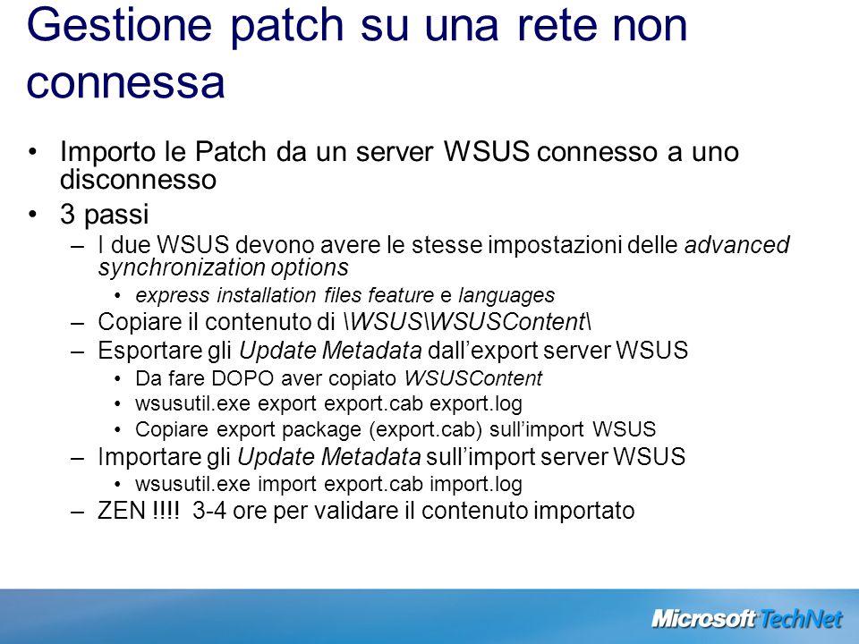 Gestione patch su una rete non connessa