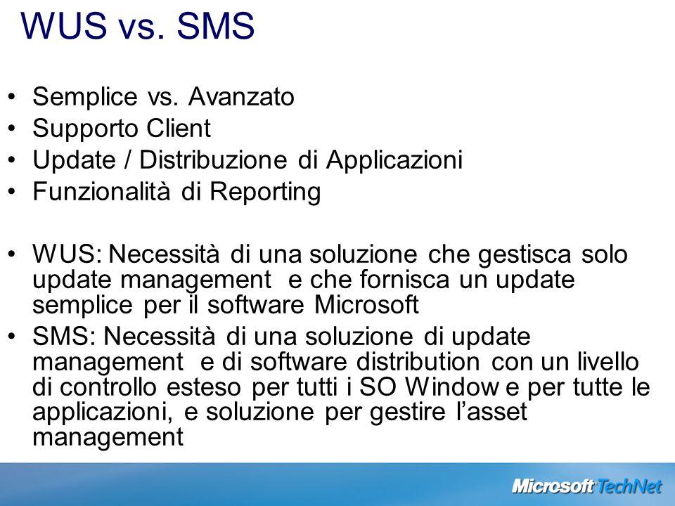 WUS vs. SMS Semplice vs. Avanzato Supporto Client