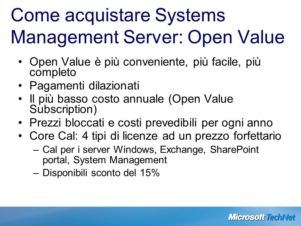 Come acquistare Systems Management Server: Open Value