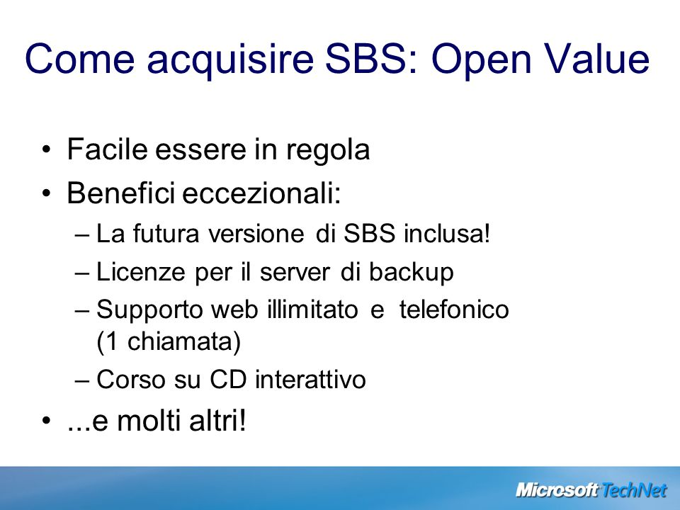 Come acquisire SBS: Open Value