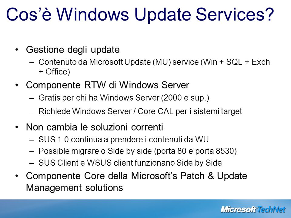 Cos'è Windows Update Services