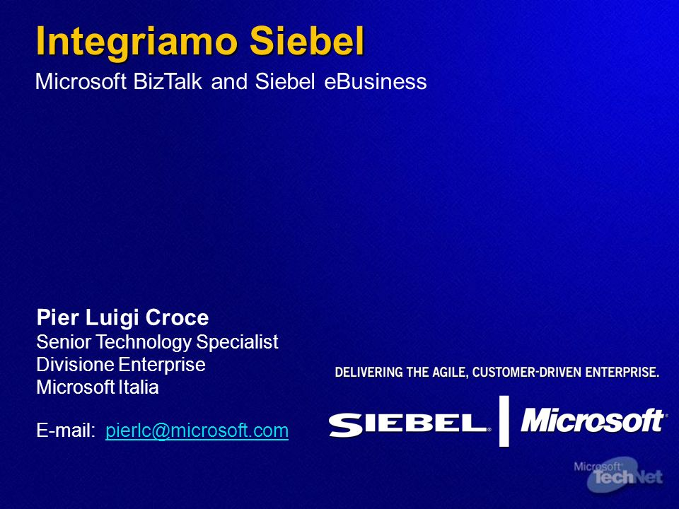 Integriamo Siebel Microsoft BizTalk and Siebel eBusiness