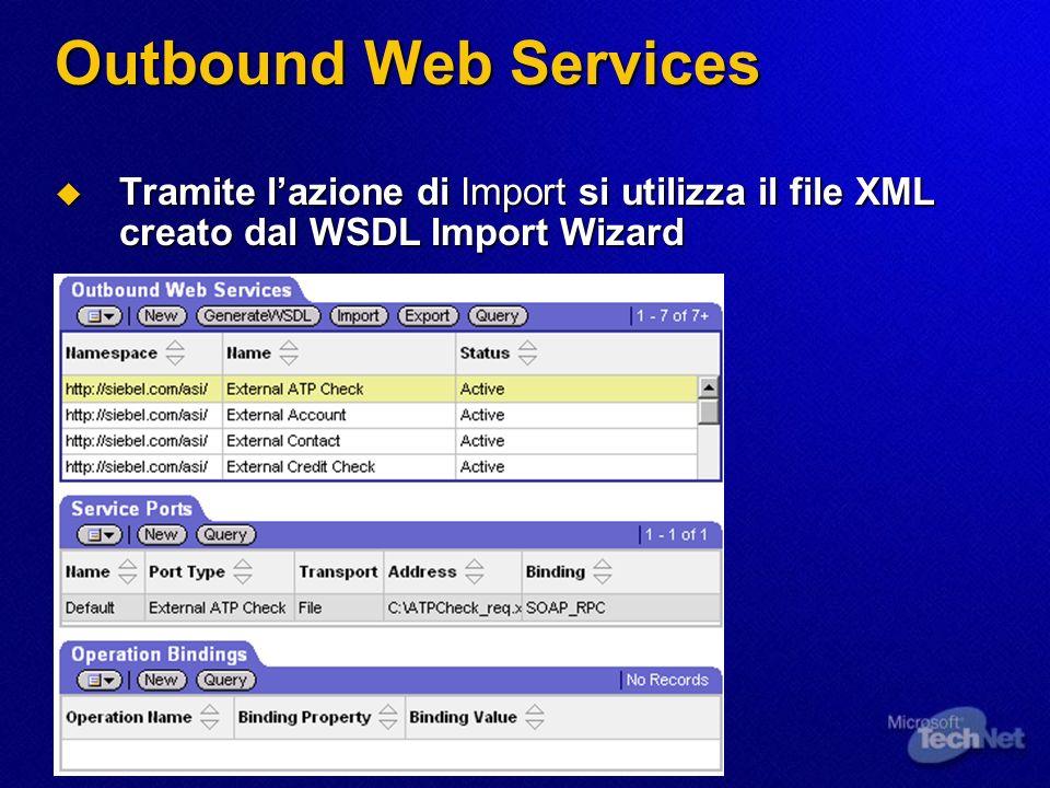 Outbound Web Services Tramite l'azione di Import si utilizza il file XML creato dal WSDL Import Wizard.