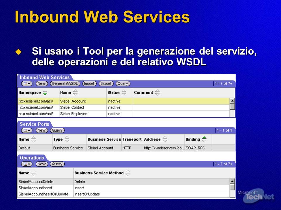 Inbound Web Services Si usano i Tool per la generazione del servizio, delle operazioni e del relativo WSDL.