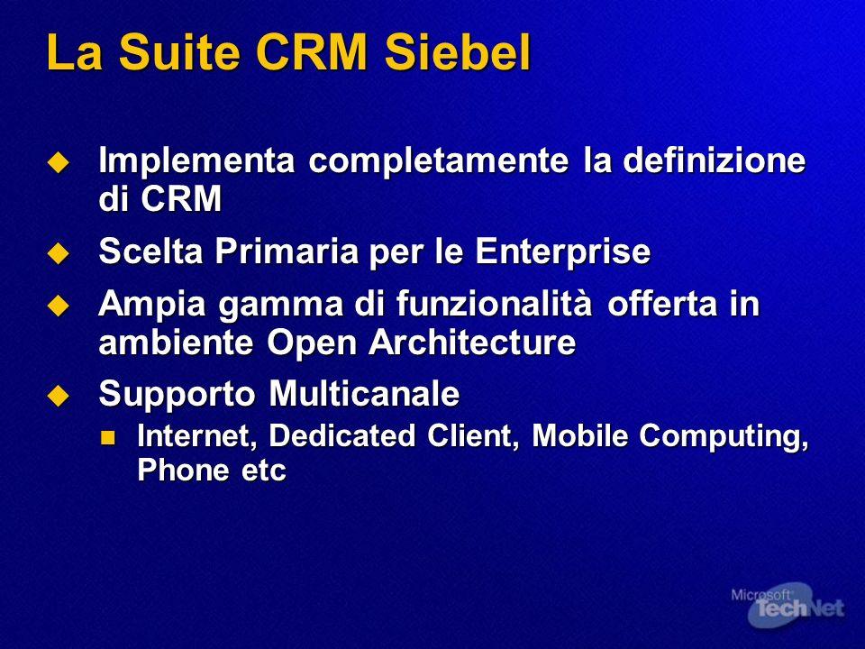 La Suite CRM Siebel Implementa completamente la definizione di CRM