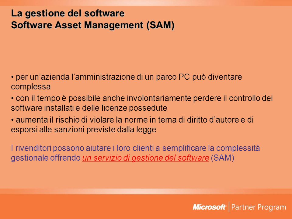 La gestione del software Software Asset Management (SAM)