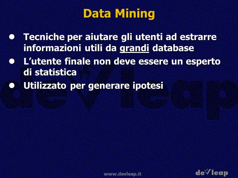Data Mining Tecniche per aiutare gli utenti ad estrarre informazioni utili da grandi database.