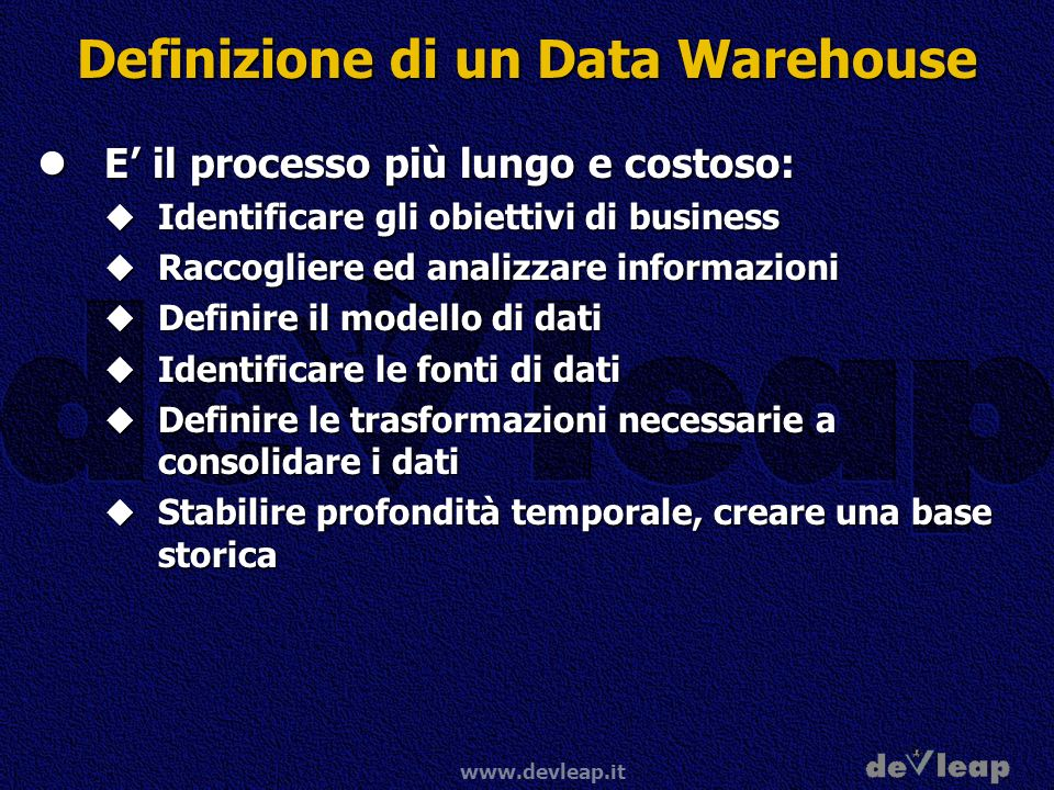 Definizione di un Data Warehouse