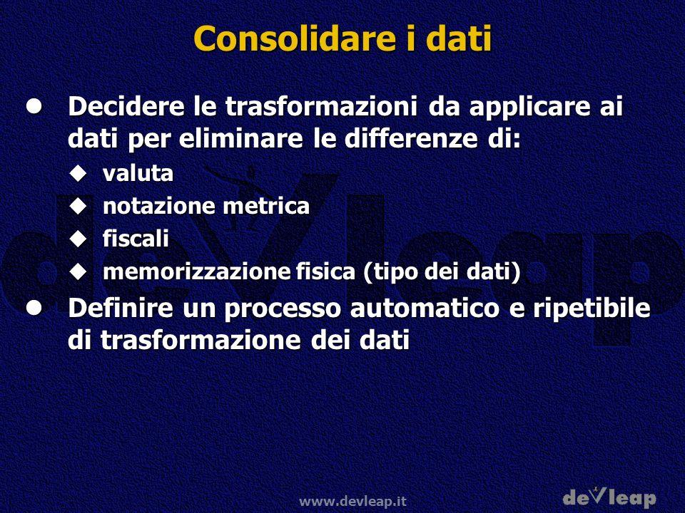 Consolidare i dati Decidere le trasformazioni da applicare ai dati per eliminare le differenze di: valuta.
