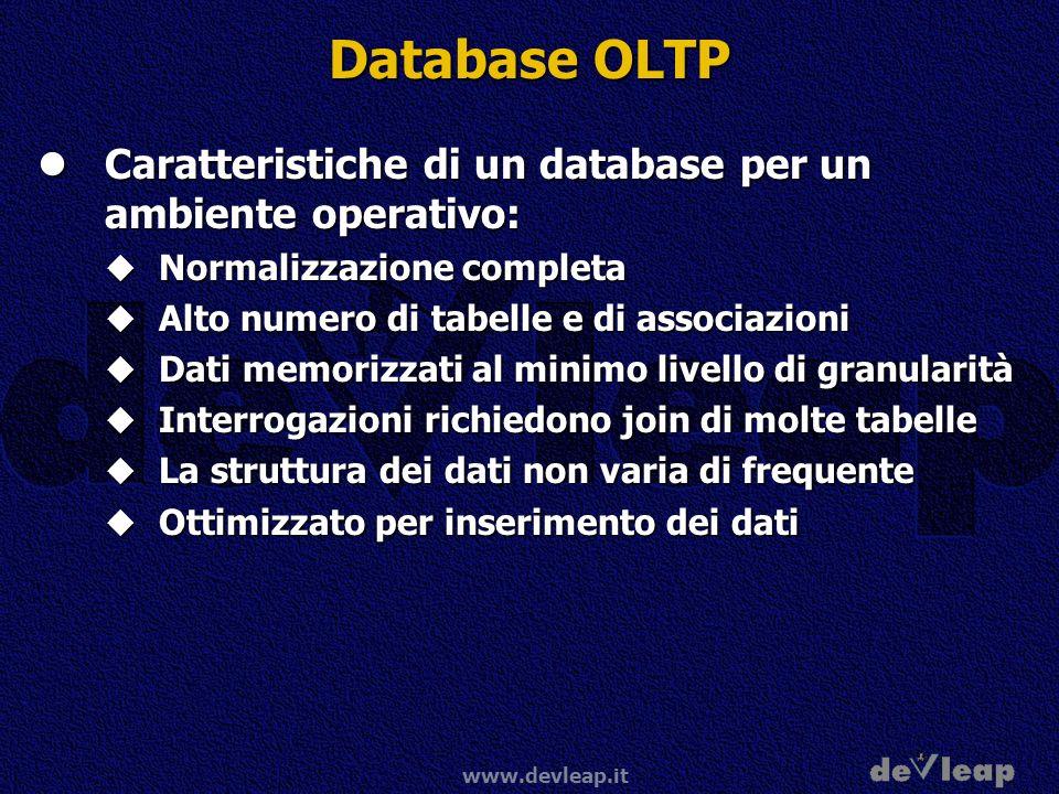 Database OLTP Caratteristiche di un database per un ambiente operativo: Normalizzazione completa. Alto numero di tabelle e di associazioni.