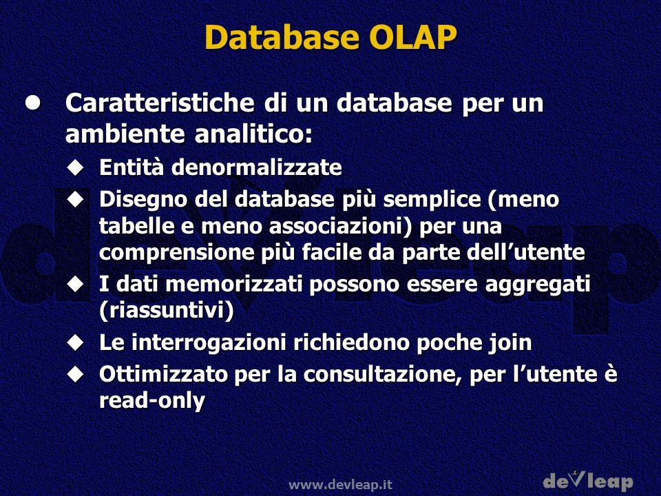 Database OLAP Caratteristiche di un database per un ambiente analitico: Entità denormalizzate.