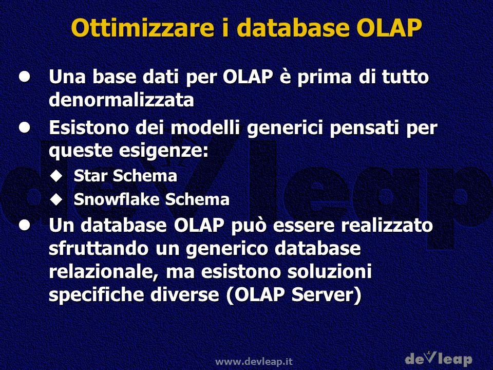 Ottimizzare i database OLAP