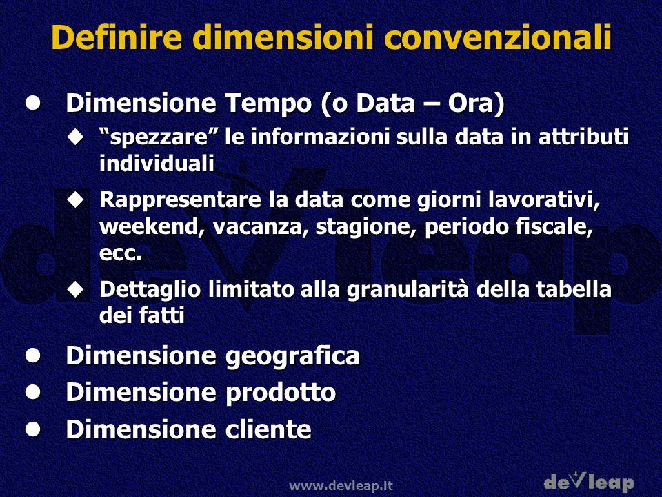 Definire dimensioni convenzionali