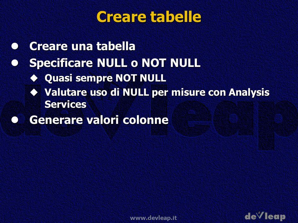 Creare tabelle Creare una tabella Specificare NULL o NOT NULL
