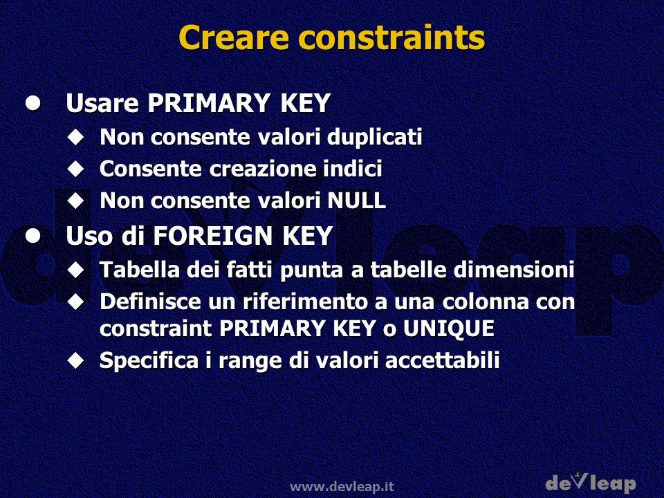 Creare constraints Usare PRIMARY KEY Uso di FOREIGN KEY