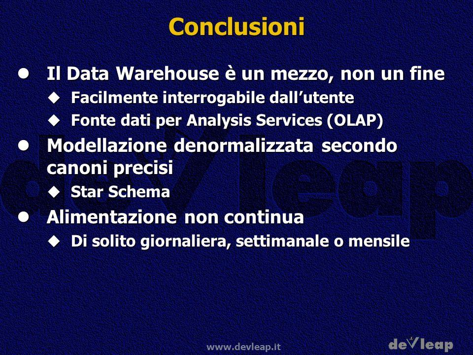 Conclusioni Il Data Warehouse è un mezzo, non un fine