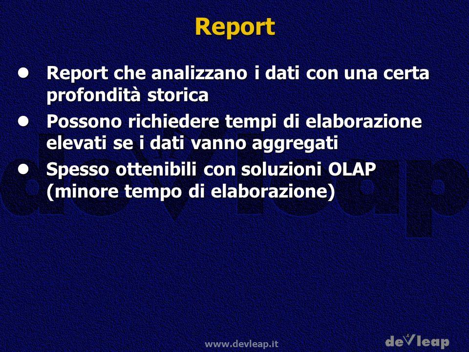 Report Report che analizzano i dati con una certa profondità storica