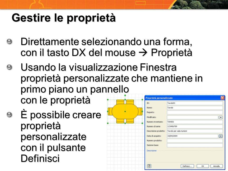 Gestire le proprietà Direttamente selezionando una forma, con il tasto DX del mouse  Proprietà.