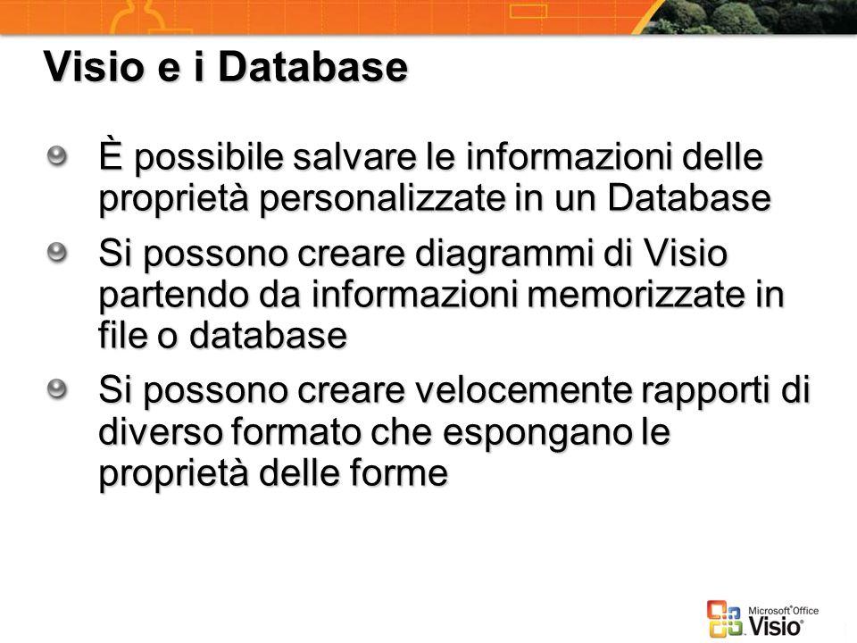 Visio e i Database È possibile salvare le informazioni delle proprietà personalizzate in un Database.