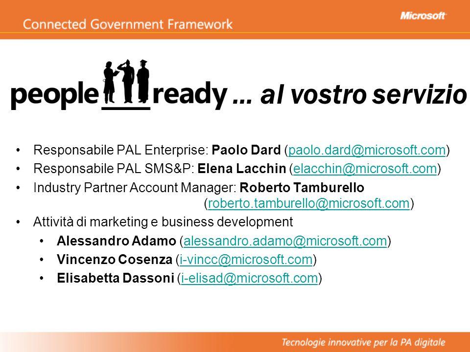… al vostro servizio Responsabile PAL Enterprise: Paolo Dard (paolo.dard@microsoft.com)