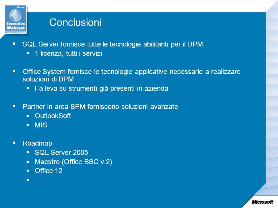 Conclusioni SQL Server fornisce tutte le tecnologie abilitanti per il BPM. 1 licenza, tutti i servizi.