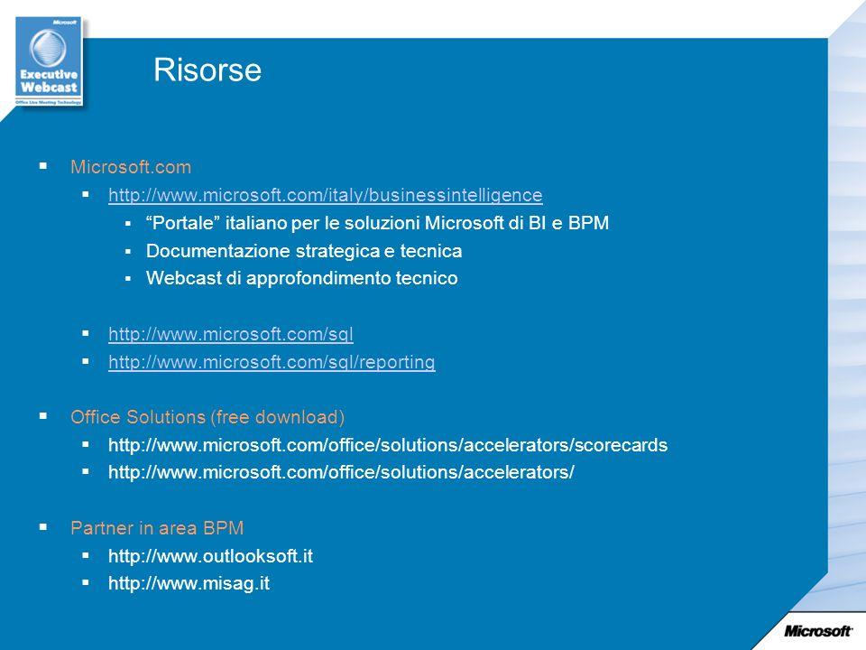 Risorse Microsoft.com. http://www.microsoft.com/italy/businessintelligence. Portale italiano per le soluzioni Microsoft di BI e BPM.
