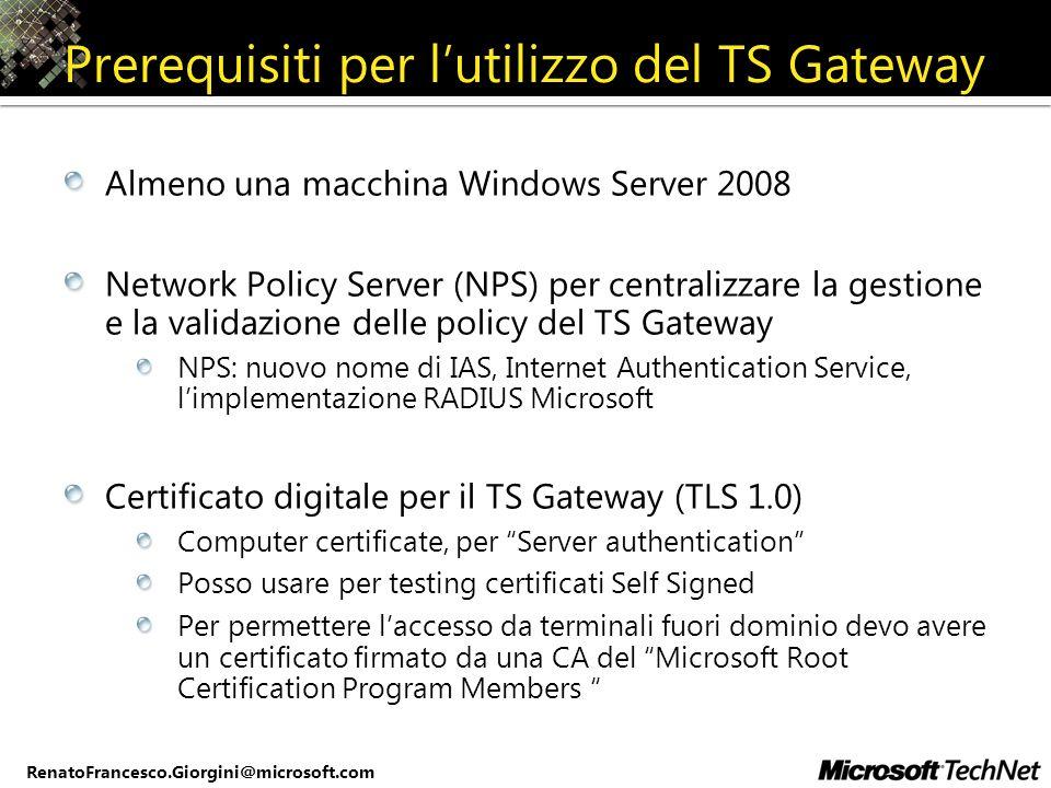 Prerequisiti per l'utilizzo del TS Gateway