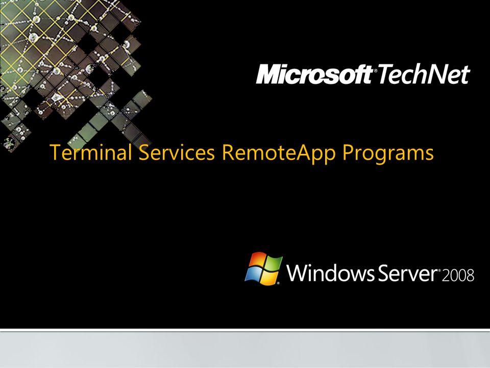 Terminal Services RemoteApp Programs