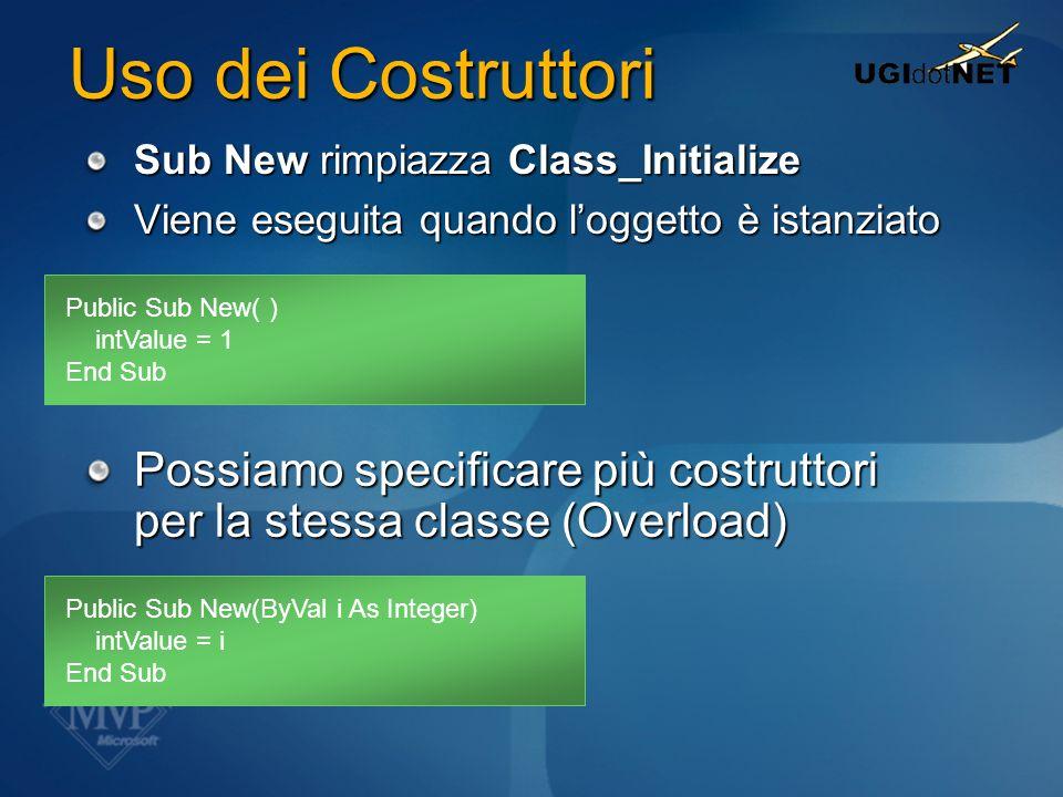 Uso dei Costruttori Sub New rimpiazza Class_Initialize. Viene eseguita quando l'oggetto è istanziato.