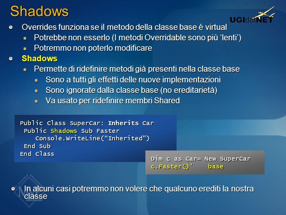 Shadows Overrides funziona se il metodo della classe base è virtual