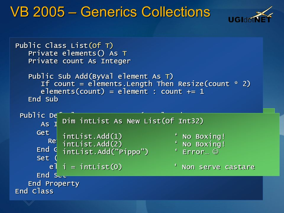 VB 2005 – Generics Collections