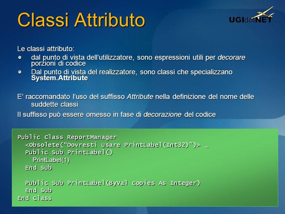Classi Attributo Le classi attributo: