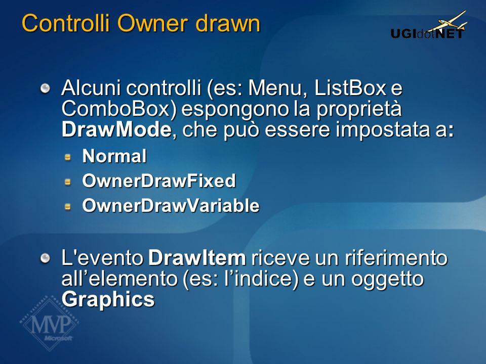 Controlli Owner drawn Alcuni controlli (es: Menu, ListBox e ComboBox) espongono la proprietà DrawMode, che può essere impostata a: