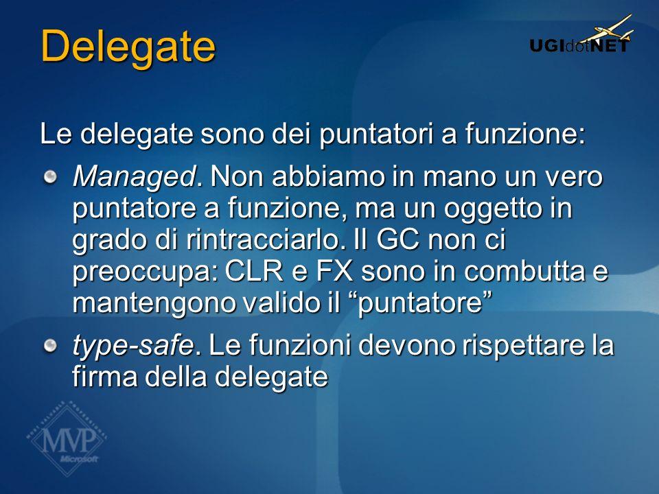 Delegate Le delegate sono dei puntatori a funzione: