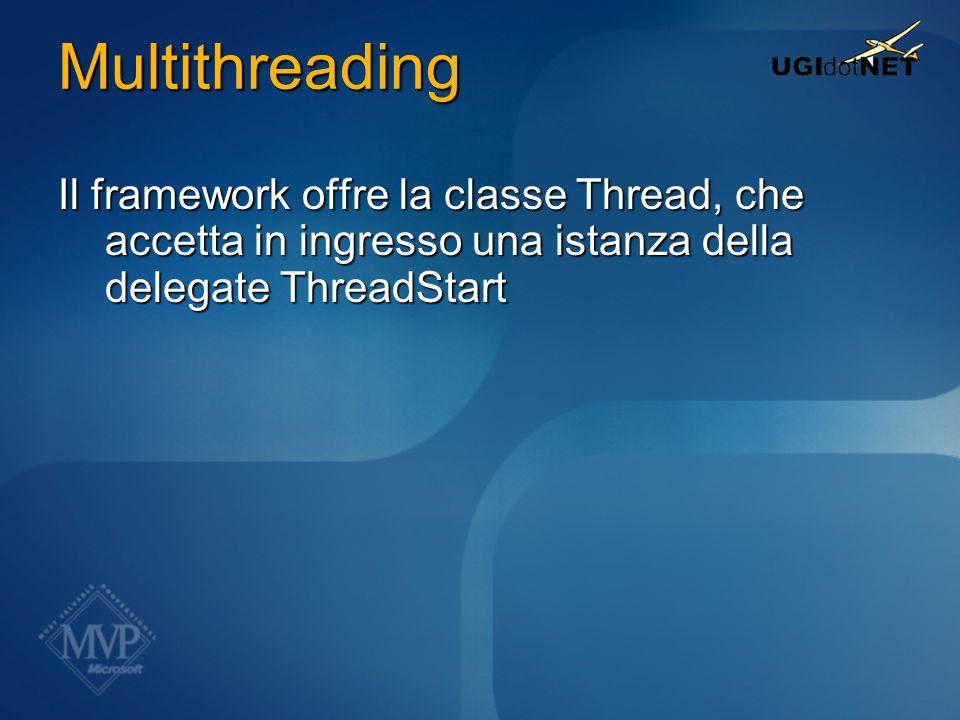 Multithreading Il framework offre la classe Thread, che accetta in ingresso una istanza della delegate ThreadStart.