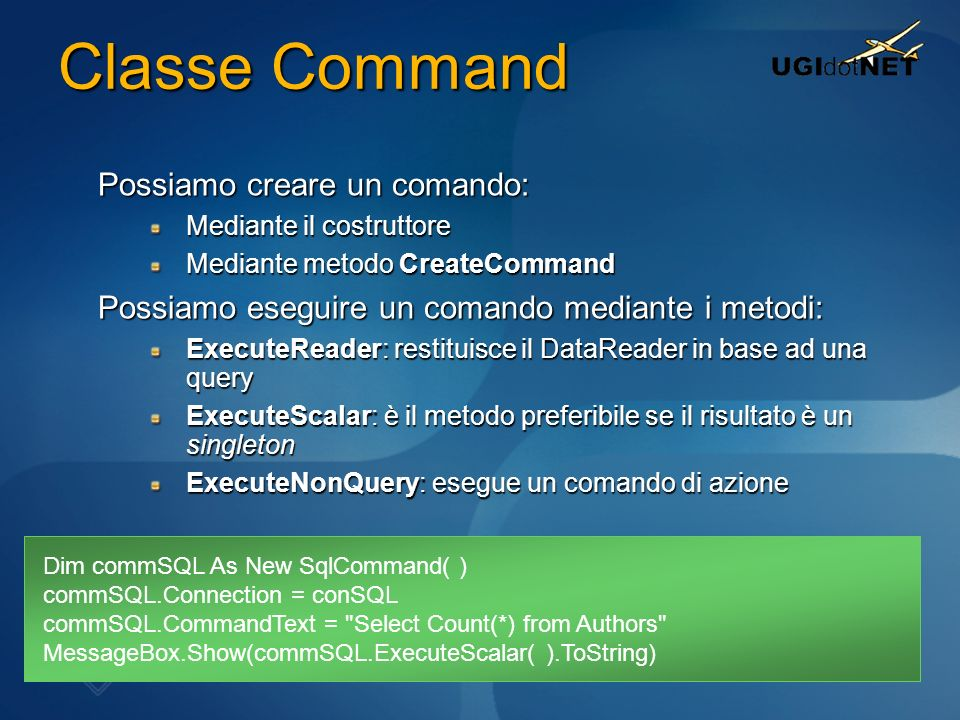 Classe Command Possiamo creare un comando: