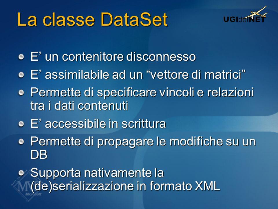 La classe DataSet E' un contenitore disconnesso
