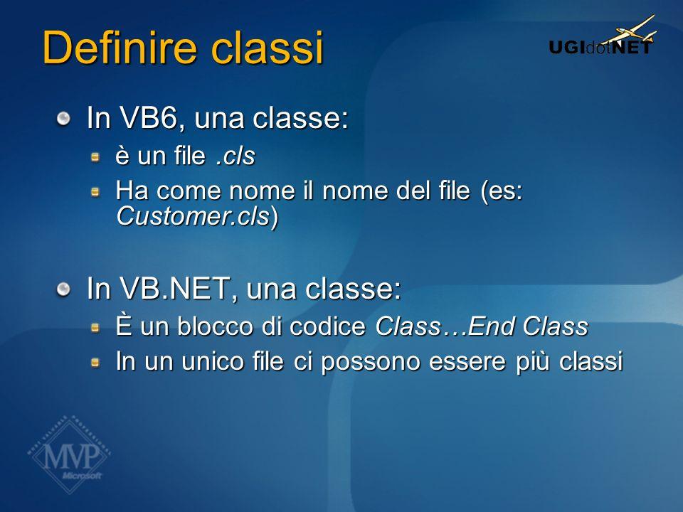 Definire classi In VB6, una classe: In VB.NET, una classe: